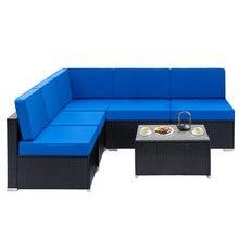 Полностью оборудованный плетеный диван из ротанга с 1 угловыми