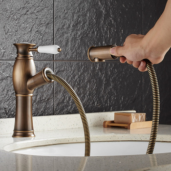 Vidric brass hot and cold black/antique bronze bathroom pull out basin faucet bathroom faucet sink tap with pull out shower head