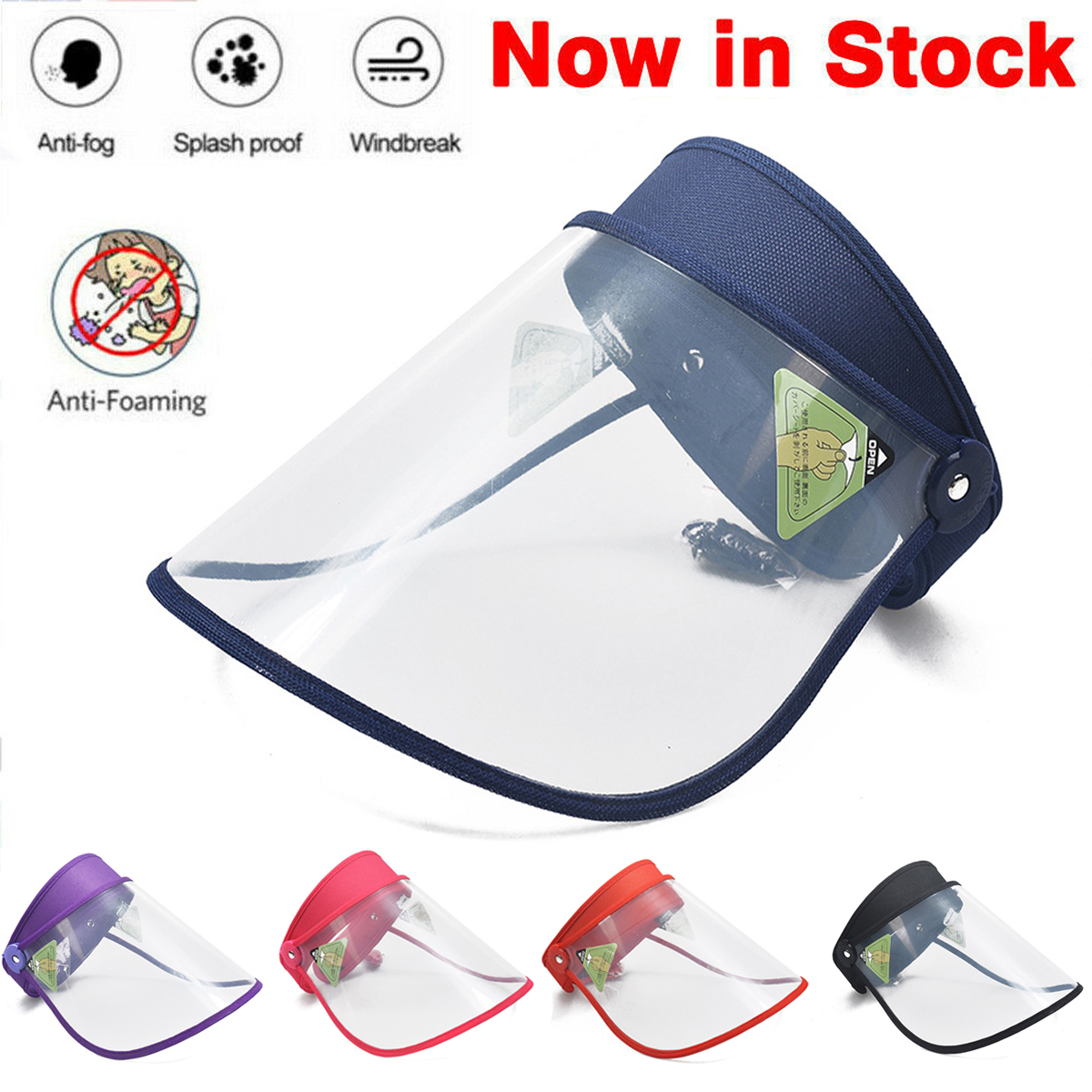 Unisex Transparent Safety Face Shield Clear PVC Flip-Up Visors Sun Hat Anti-Spitting Saliva-proof Dust-proof Protective Hat
