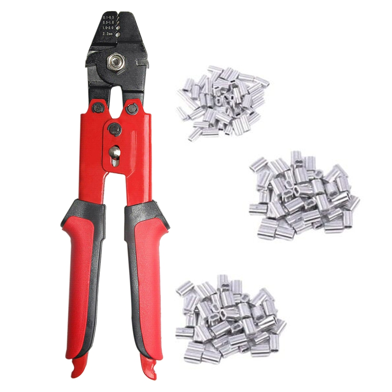 Fishing Pliers Wire Rope Crimping Tool with 150Pcs Ferrule Crimping Loop Kit for Crimpers Crimping Sleeves Tool