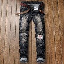 Men's Slim and Hole-Breaking Locomotive Jeans Men's Trousers Men's Black Biker Jeans Straight Denim Pants Distressed Trousers цены
