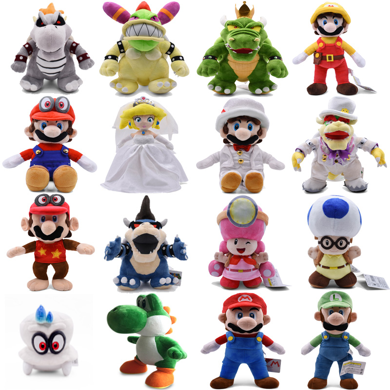 Super Mario Odyssey Bros Luigi Wedding Dress Bowser Koopa Yoshi Captain Peach Peluche Doll Plush Soft Stuffed Toy Christmas Gift