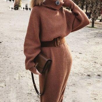 Fashion Belted Long Sweater Women Autumn Winter Clothing Mid-length Sweater Knitted Dress Slim Turtleneck Dress OL Vestidos surplice gingham belted dress