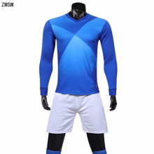 ZMSM Men Long sleeve Soccer Jerseys Kit Survetement Football V-neck Training Suit Shirts & Shorts Uniform Sportswear