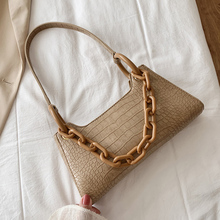 Acryli Thick Chain Women Shoulder Bag 2020 Fashion Crocodile Pattern Women Handbags Soild Color Female Tote Bags Ladies Hand Bag ladylike women s tote bag with animal pattern and color block design