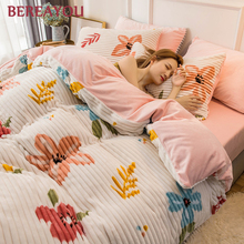 Luxury Bedding Sets Flannel Winter Thick Warm Comforter For Girls room Princess Duvet Cover Queen Size Bed Linen Wedding Set