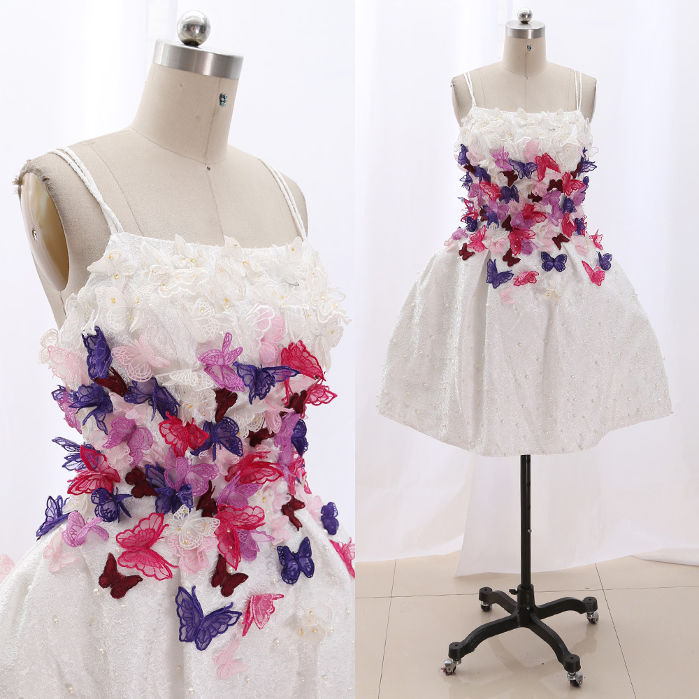 MACloth White Short Strap Knee-Length Short Beading Satin   Prom     Dresses     Dress   M 267128 Clearance