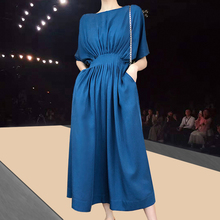 Summer 2020 Solid Long Dress Women Korean Maxi Dresses for Women Vestidos Casual Pleated Office Lady