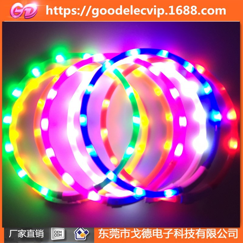Waterproof Neck Ring LED Pet Shining Traction Dog Silica Gel Bandana Neck Ring With USB Charging Feature Silica Gel