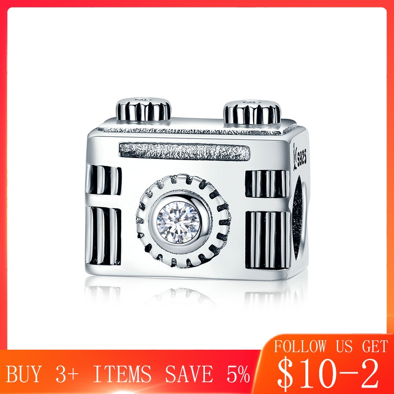 CodeMonkey Authentic 100% 925 Sterling Silver Popular Vintage Camera Memory Box Charm fit Charm Bracelet Bangle DIY Jewelry C516 image