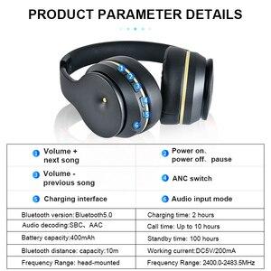 Image 5 - Anc bluetooth fones de ouvido com cancelamento ruído ativo fone sem fio dobrável alta fidelidade graves profundos com microfone para a música