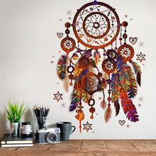 National Colorful Dreamcatcher Wall Sticker Enamoured Feather Ornament Dream Catcher Wind Chime Decal Bedroom Home Decoration