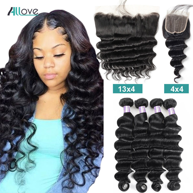 Allove Loose Deep Wave Bundles With Closure Peruvian Hair Bundles With Closure Non Remy 100% Human Hair Bundles With Closure
