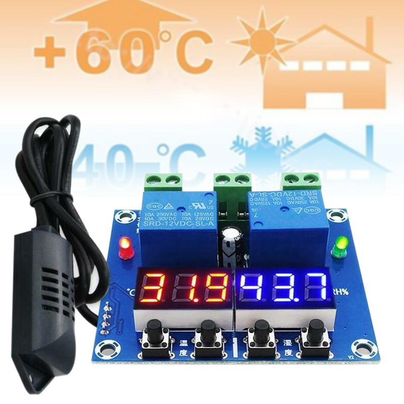 XH-M452 DC 12V Digital Thermostat Temperature Humidity Control LED Hygrometer Thermometer Controller Relay Module OD889