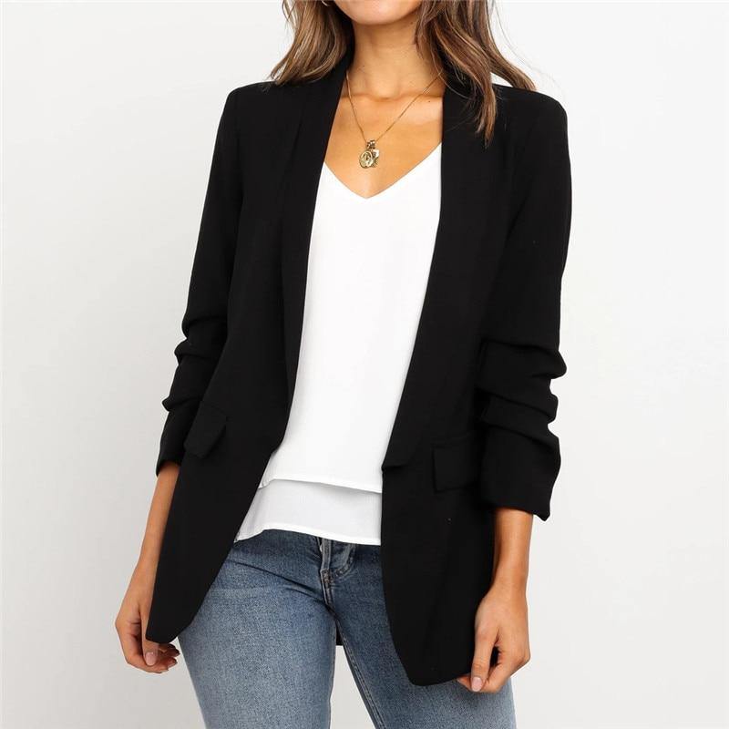 Female Blazer Women Loose Blazer Top Long Sleeve Casual Jacket Ladies Office Wear Coat Blouse Women's Blazer 2020 Tweed Jacket