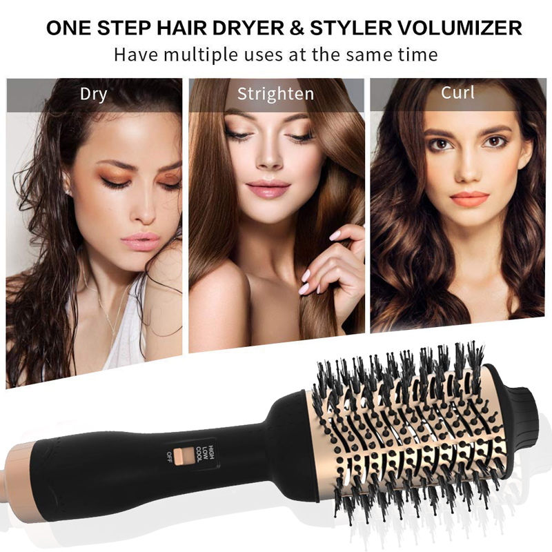 3 In 1 One Step Hair Dryer And Volumizer Negative Ion Hair Straightening Brush Dry / Wet Dual Use Suitable For All Type Of Hair