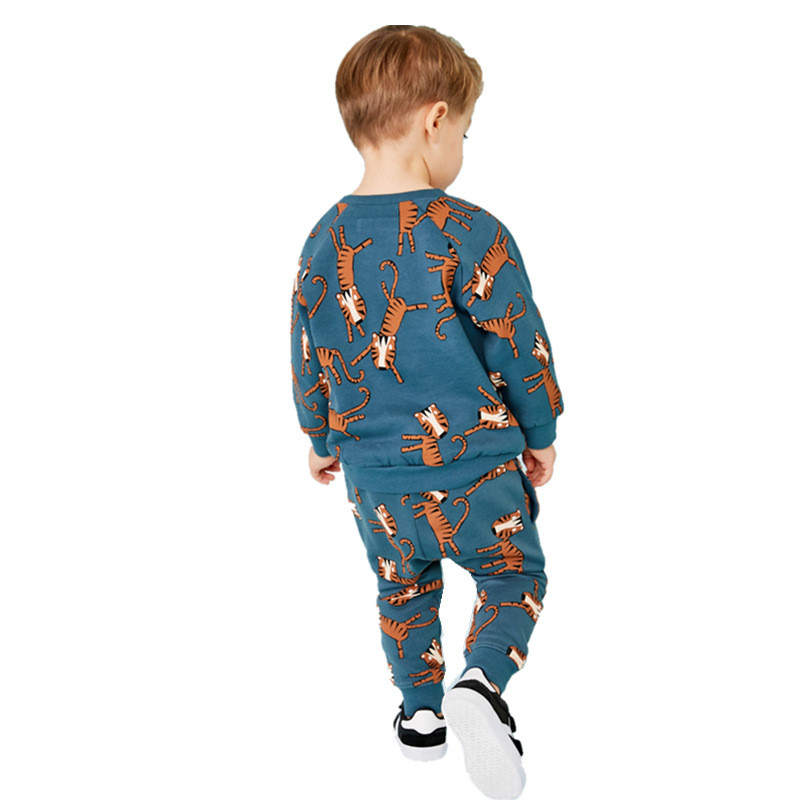 Jumping Meters New Baby Boys Clothing Sets Autumn Winter Cartoon Tiger Printed Cotton Boys Girls Outfit Long Sleeve Shirt Pant