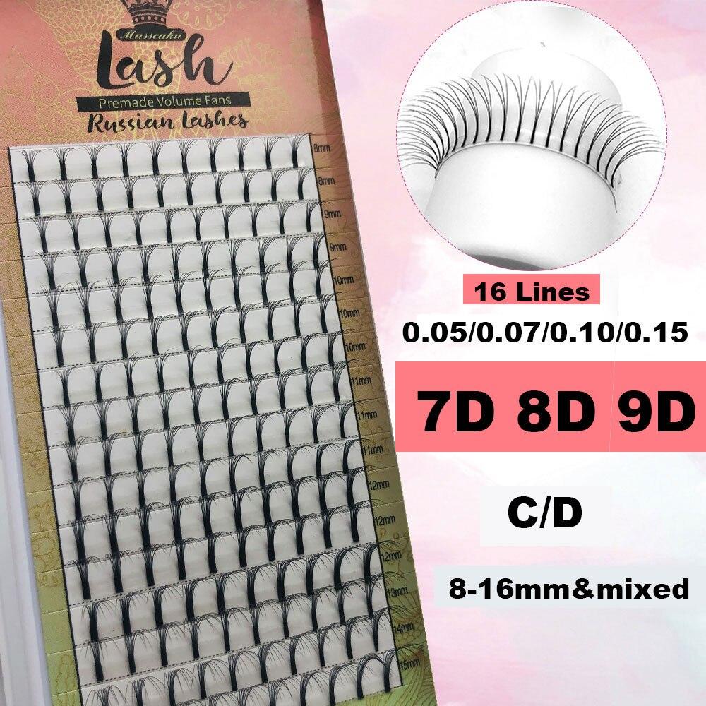 MASSCAKU New 16lines Premade Russian Volume Fans 7d/8d/9d Eyelashes Long Stem Lash Pre Made Fans Eyelash Extensions Supplies