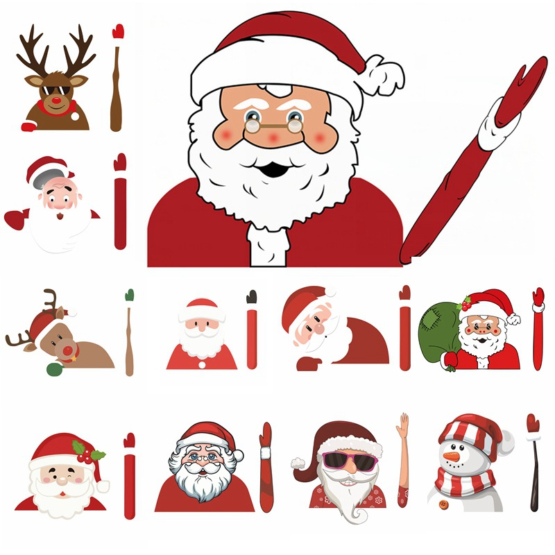 1Pc Car Styling Stickers Christmas Decoration Santa Claus 3D PVC Waving Car Stickers Styling Window Wiper Rear Windshield Decals