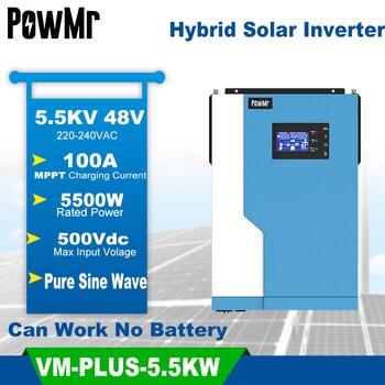 PowMr-Inversor híbrido de onda sinusoidal pura de 3,5/5,5 kW, Inversor Solar con MPPT integrado, controlador Solar de 100A para máx. 500V sin Wifi 1