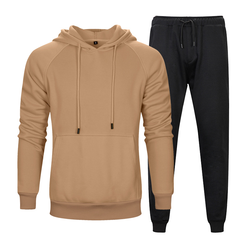 Autumn And Winter Solid Color Hoodie Two-Piece Set Solid Color Kangaroo Pockets Hoodie Solid Color Loose Casual Gymnastic Pants