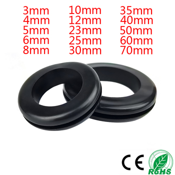 цена на 50PCS 3/4/6/8/20/25MM Double Sided Armature Wire Rubber Grommets Ring External Circlip For Protects Wire Cable Hose Custom Part