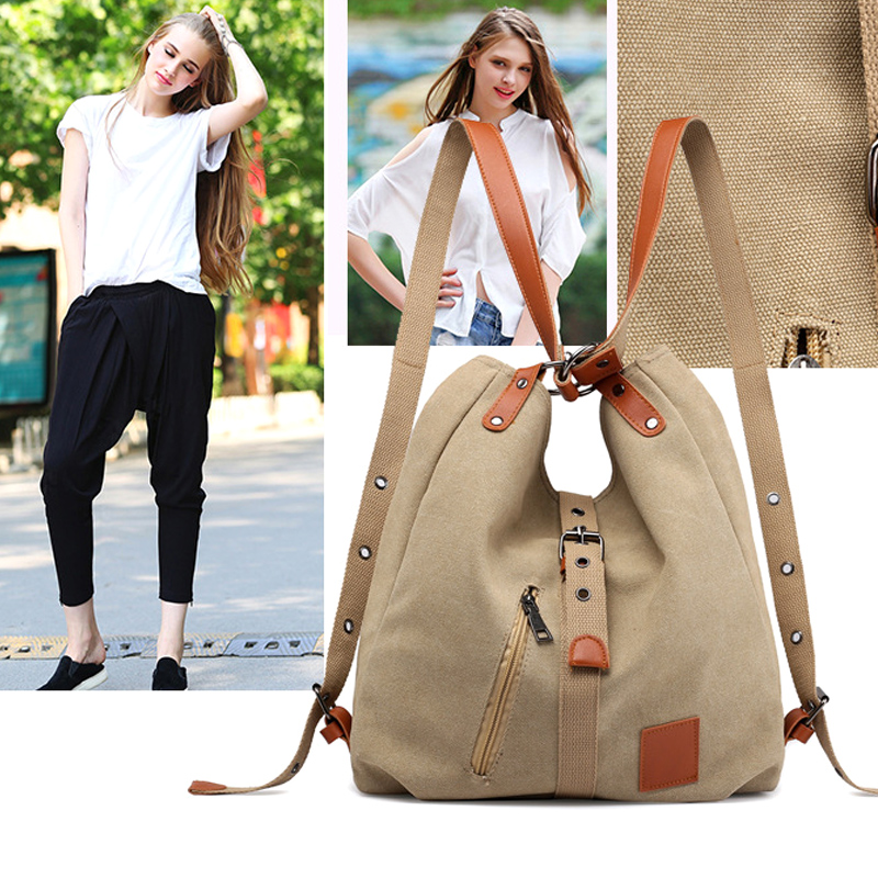 Vintage Two Way Canvas Tote Bag Multifunction Backpack Large Capacity Handbag For Travel School  J55