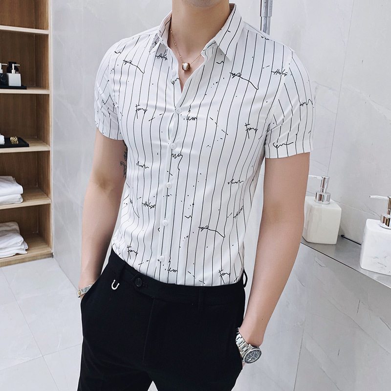 <font><b>Men's</b></font> Social <font><b>Striped</b></font> <font><b>Shirts</b></font> Slim Fit All Match Streetwear Blouse Homme 3XL Man Work <font><b>Shirt</b></font> <font><b>Men</b></font> Summer 2020 New <font><b>Short</b></font> <font><b>Sleeve</b></font> image
