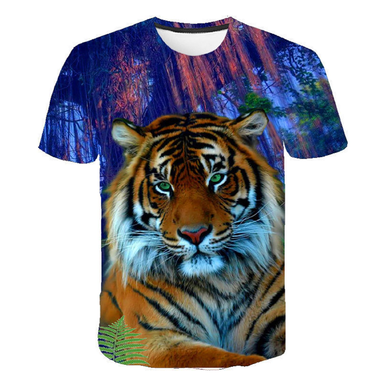Men T-Shirt Tops Short-Sleeved Forest Tiger 3d-Printed Male Casual O-Neck