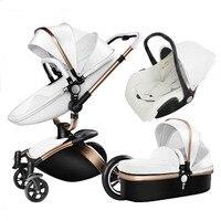 3 in 1 bebek arabası deri iki yönlü yüksek manzara arabası 360 derece dönüş oturmak katlanabilir amortisör bb araba