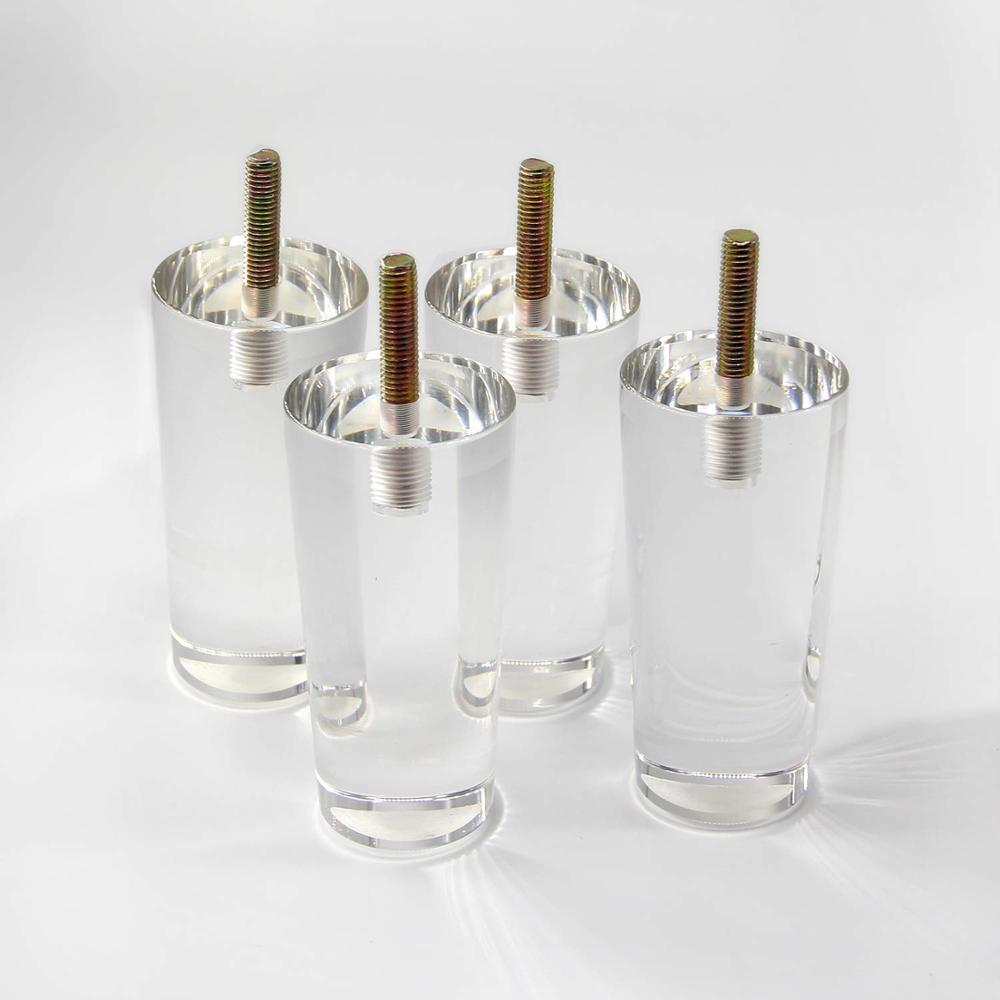 4Pcs/Lot 4Inch Sofa Legs Clear Furniture Feet Acrylic Bench Legs Modern Cabinet Cupboard Coffee Table Legs Couch Feet