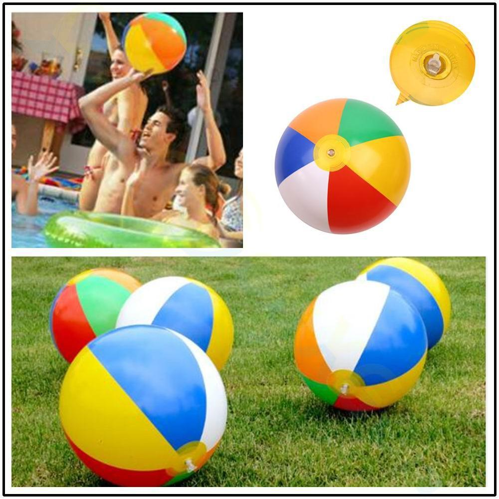 Inflatable Rainbow Color Beach Ball Kids Outdoor Water Pool Toy Birthday New Year Christmas Halloween Gift Toy Education Ball