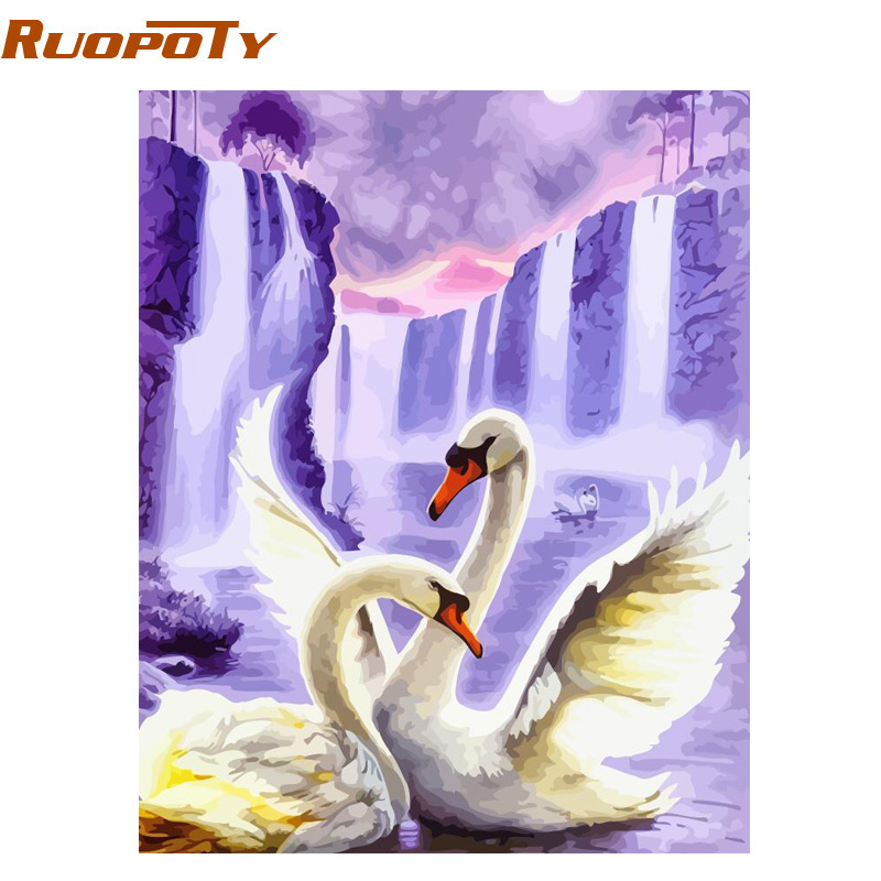 RUOPOTY Canvas Painting Numbers Wedding-Decoration Wall-Art-Picture Swan-Animals Acrylic