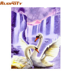 RUOPOTY рамка Лебедь животные DIY живопись по номерам стены Искусство картина акриловая Картина на холсте для свадебного украшения Прямая