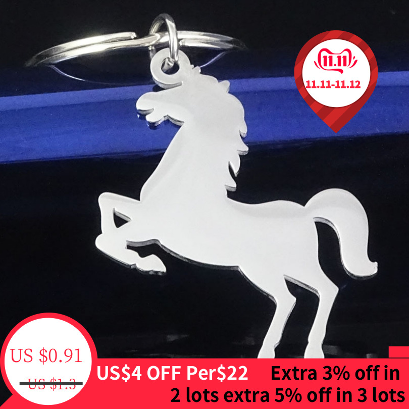 DoreenBeads Stainless Stell Silver Men's Keychain Horse Pattern Pendants Fashion Personality Keychain Trendy Small Gift ,1 Piece