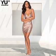 YUBAIBAI New Women Sexy V-neck Sequined Backless Party Dresses 2019 Sleeveless Sequins Club Wear Mini Summer Dress Vestidos