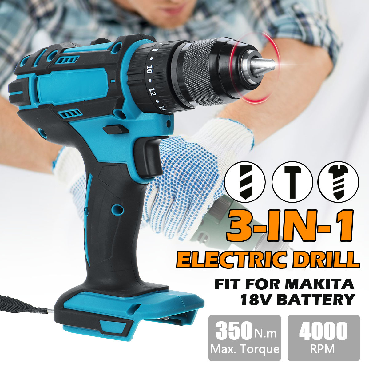 3 In 1 Cordless Drill Electric Controller Household 350Nm Torque Gear Drill Mini Power Tools Fit For Makita 18V Battery