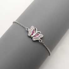 High quality 100% Real 925 Sterling Silver Bracelets for WomenButterfly Bracelet With Purple Stone zircon Fashion Jewelry Gift(China)