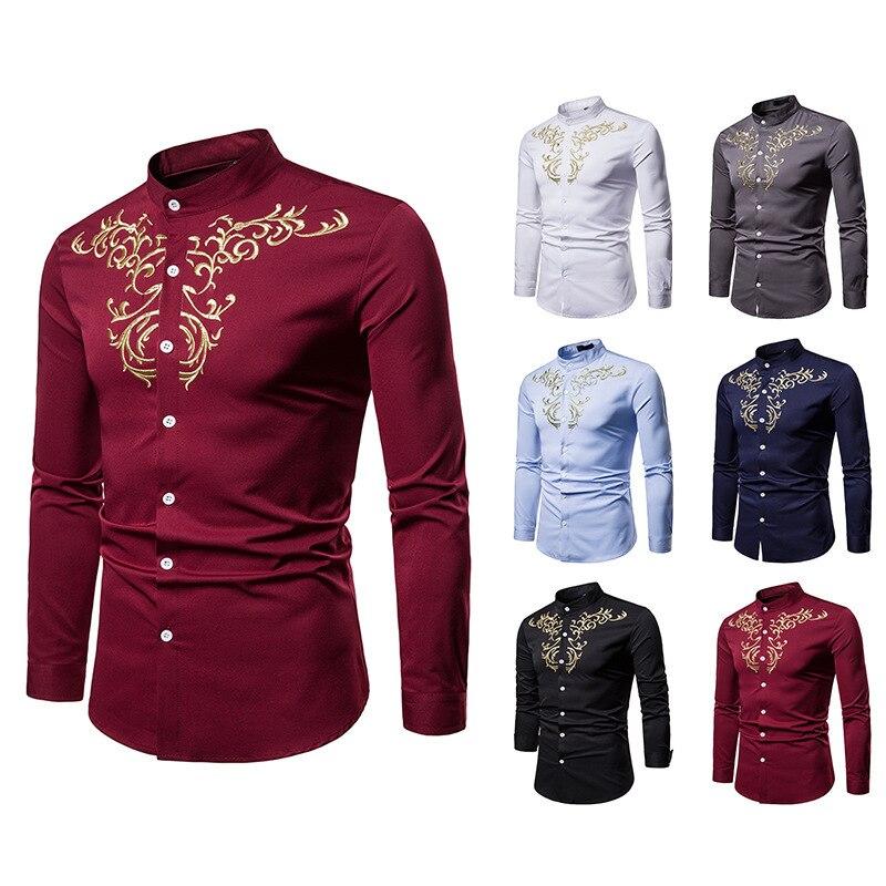 Рубашки, европейские и американские мужские рубашки, рубашки Королевского корта ветра, вышитые рубашки с воротником Генриха, большие рубаш...