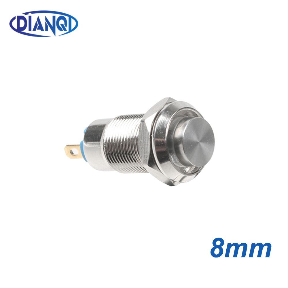 1pc 8mm Self-reset Momentary Self-locking Latching Metal Push Button Switch 2pins High Head Switch