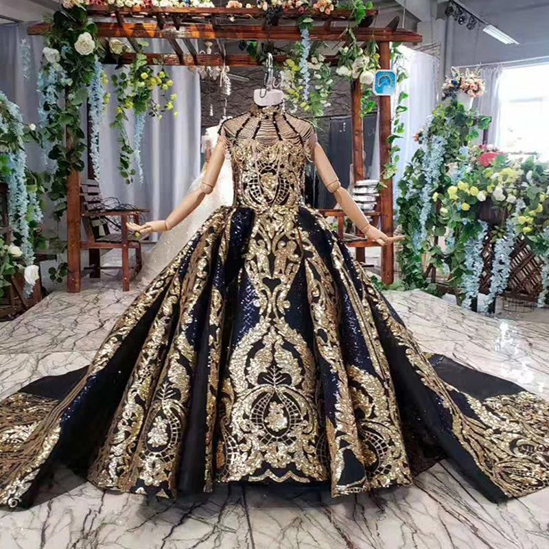 Luxury Dubai Kids Evening Ball Gown Black Gold Glizy Pageant Dress Little Girls Arabic Black Flower Girl Dresses With Train