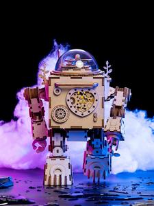Robotime Assembly-Toy Building-Kits Steampunk Model Wooden DIY Adult Rotatable for Children