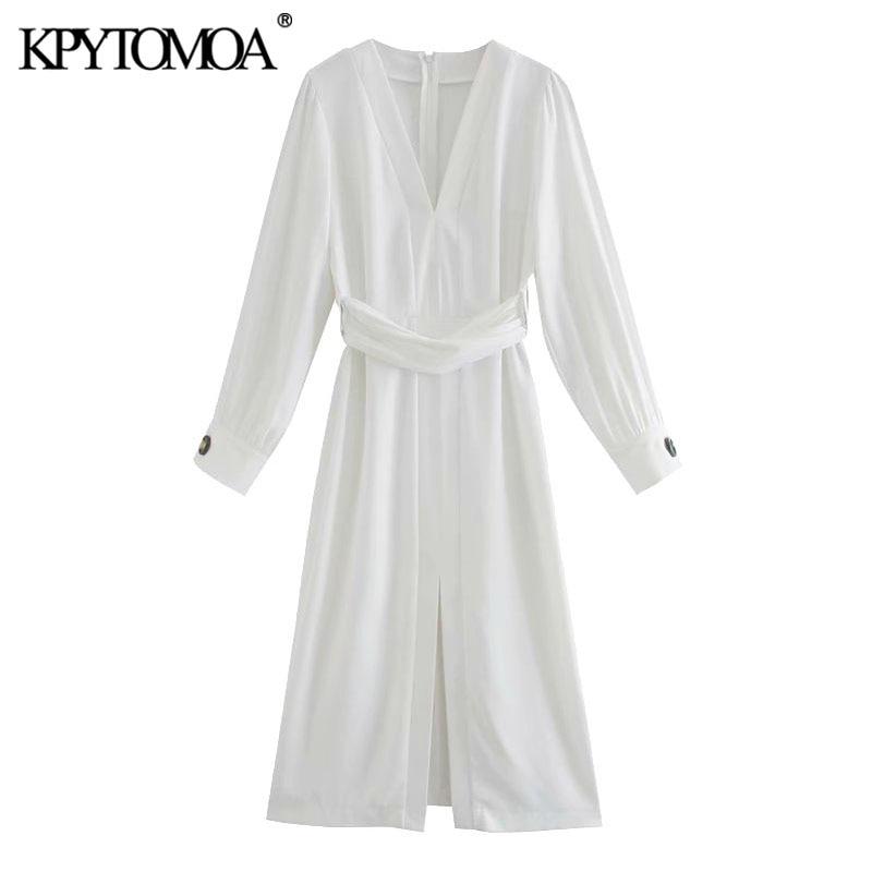 KPYTOMOA Women 2020 Chic Fashion With Belt Front Vent Midi Dress Vintage V Neck Long Sleeve Female Dresses Vestidos Mujer