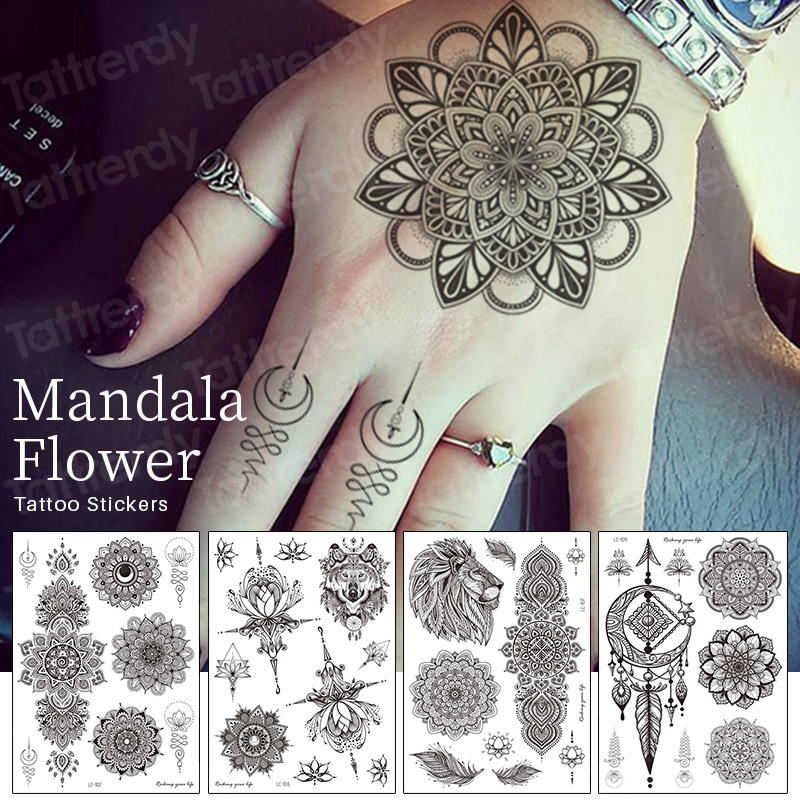 Mandala Temporary Tattoo Sticker Jewelry Black Tattoo Henna Lace Lotus Flowers Mehndi Stickers For Hand Temporary Finger Tattoos