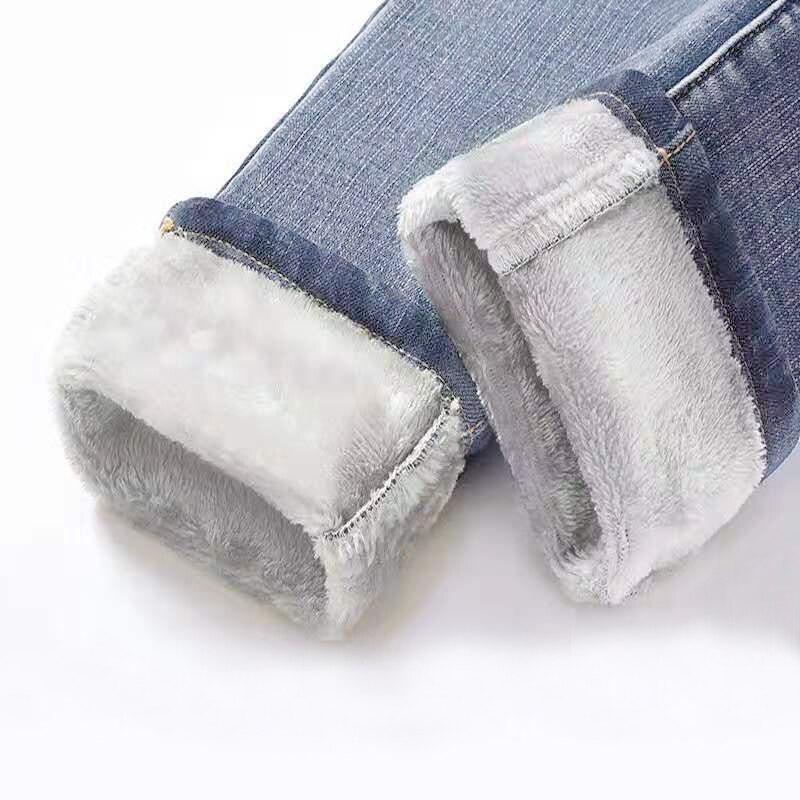 Winter Jeans Women's Korean High Waist Plus Velvet Skinny Jeans Female 2019 New Denim Streetwear Thick Warm Winter Feet Pants(China)