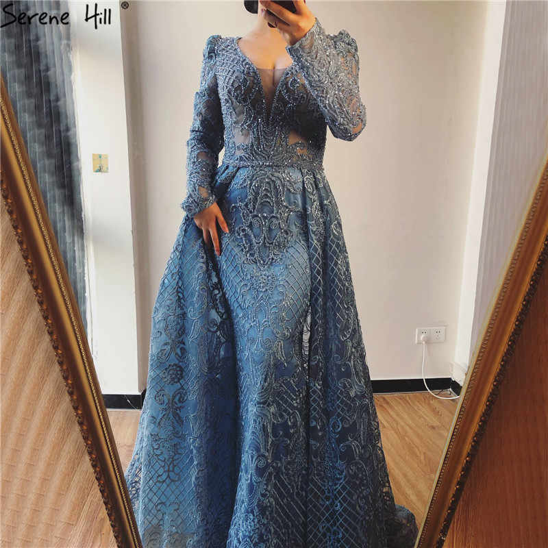 Dubai Blue Luxury Long Sleeves Evening Dresses 2019 V-Neck Handmade Flowers Crystal Sexy Evening Gowns Plus Size LA70159