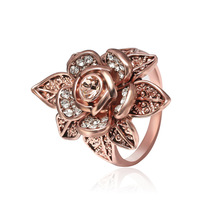 NJ 2019 New Fashion Chic Rose Flower Woman Wedding Rings Gold  Rhinestone Lady For Engagement Accessories