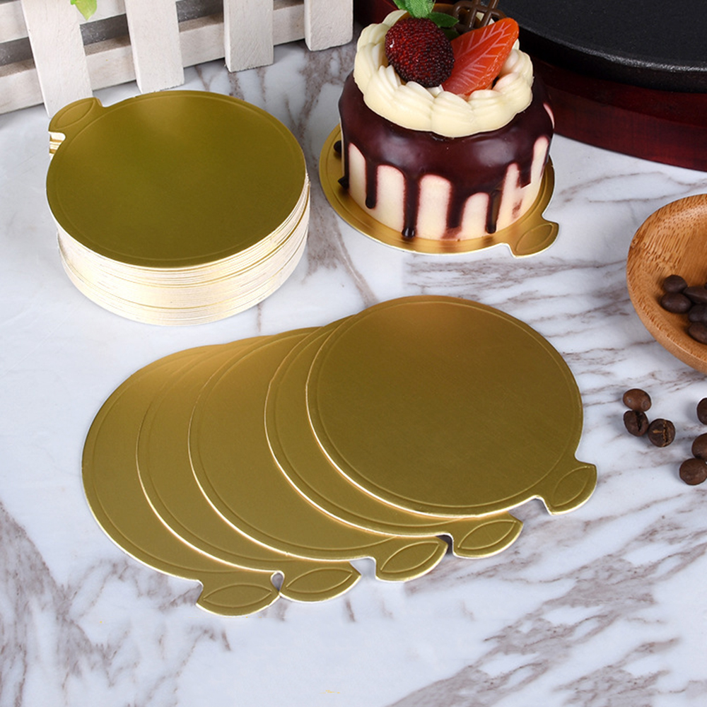100pcs Round Shapes Gold Mousse Cardboard Base Pad Festival Disposable Plate Mousse Cake Paper Tray Holder