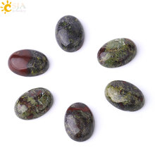 CSJA Natural Dragon Blood Stone Cabochon for Needlework Handmade Jewelry DIY Making Oval Loose Gem Stone Beads 18x25 30x40 F833(China)