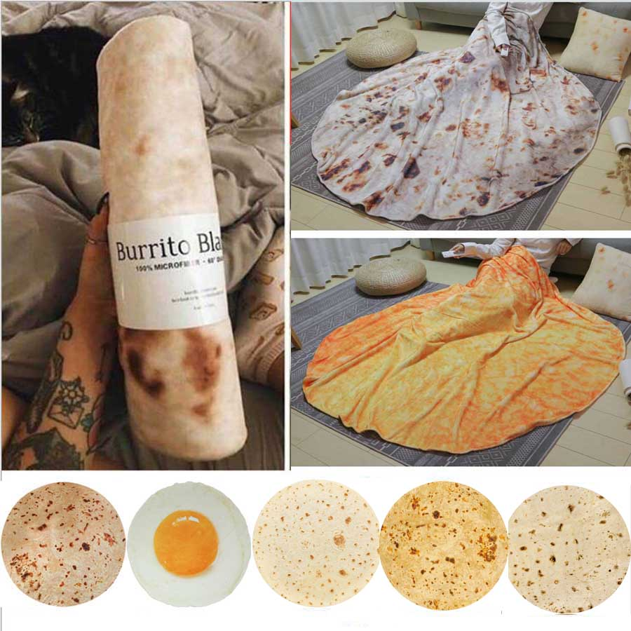 WOSTAR Soft Warm Flannel Burrito Blankets 280Gsm Round Shape Throw Blankets Coral Fleece Tortilla Nap Wrap Travel Egg Blankets